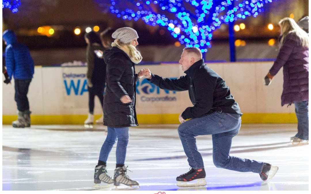 A Surprise Proposal while Ice Skating at the Blue Cross River Rink | Carol & Giovanni