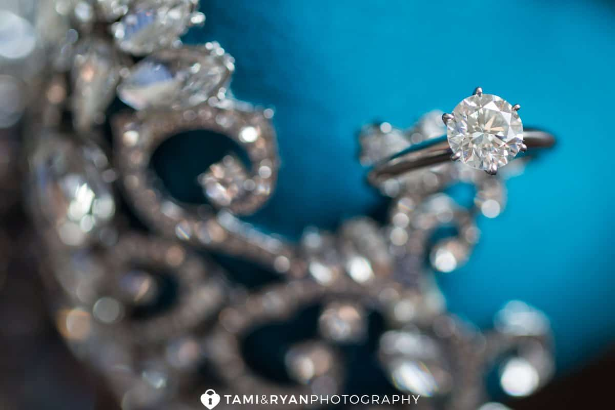 bride engagement ring detail