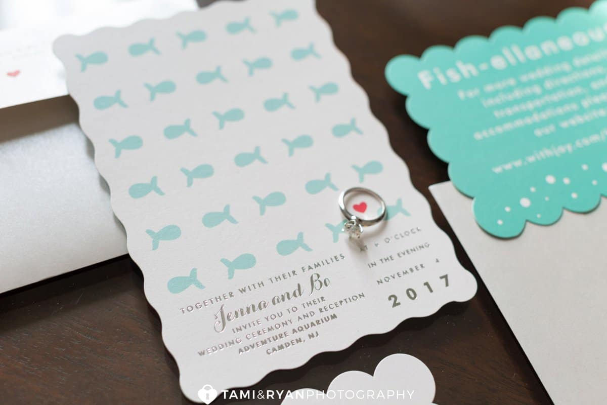 bride groom fish wedding invitation