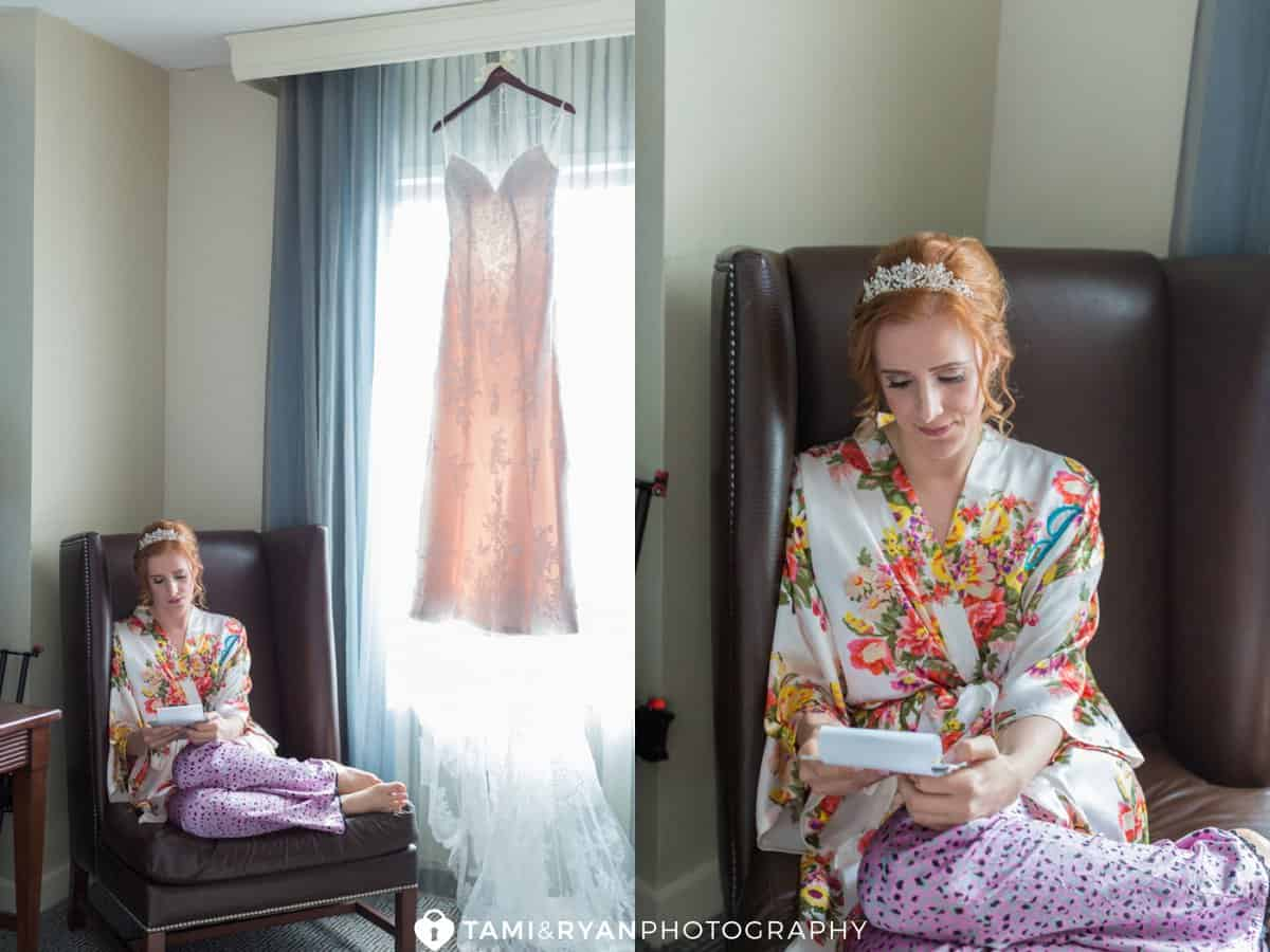 bride reading letter dress