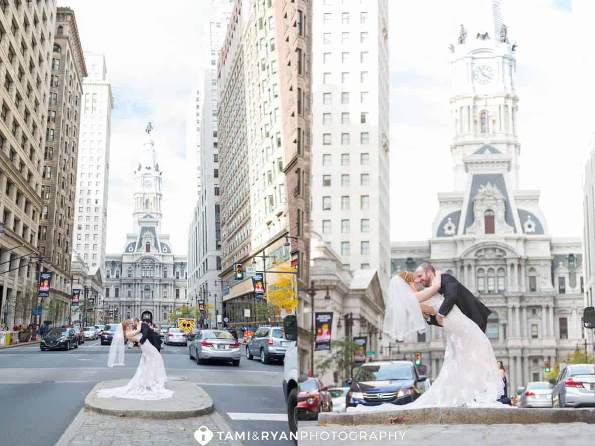 bride groom dip philadelphia city hall