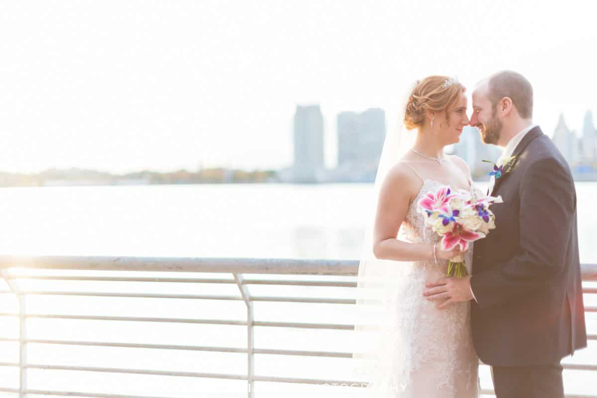 bride groom sunset camden waterfront