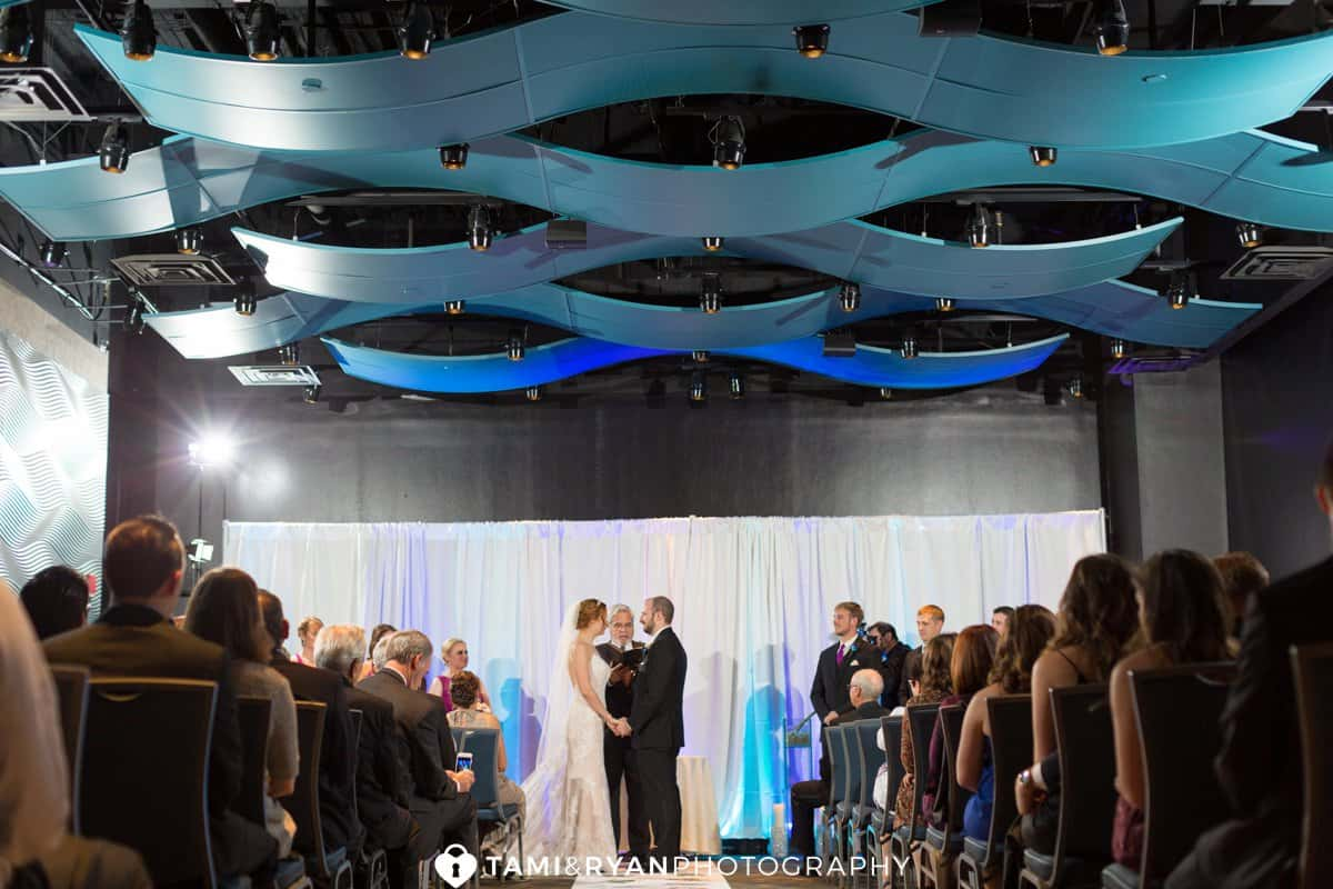 bride groom vows ceremony aquarium