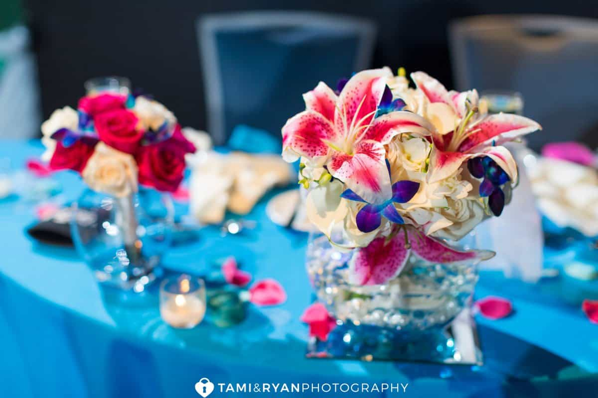 wedding centerpiece pink blue