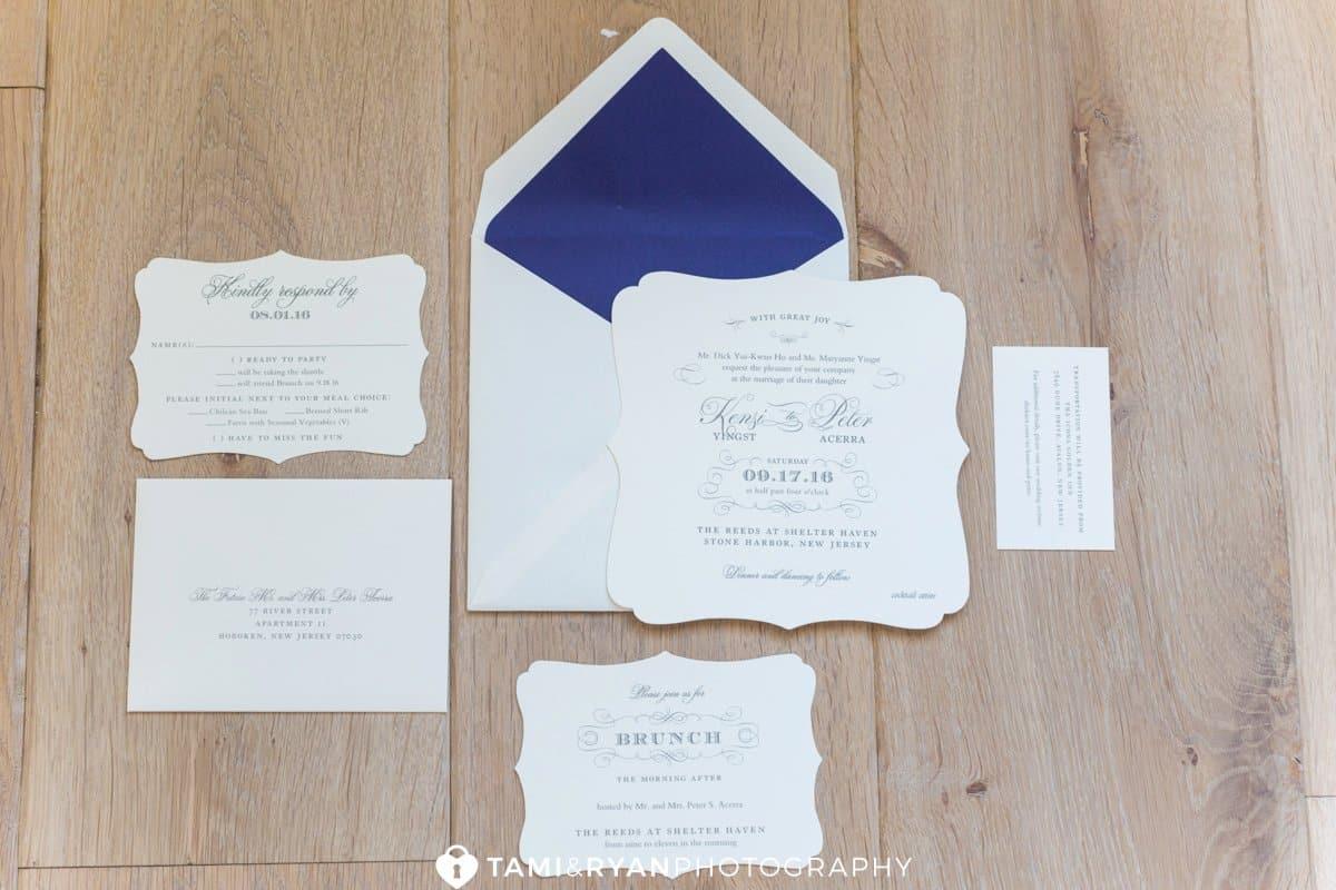 shore wedding invitation purple