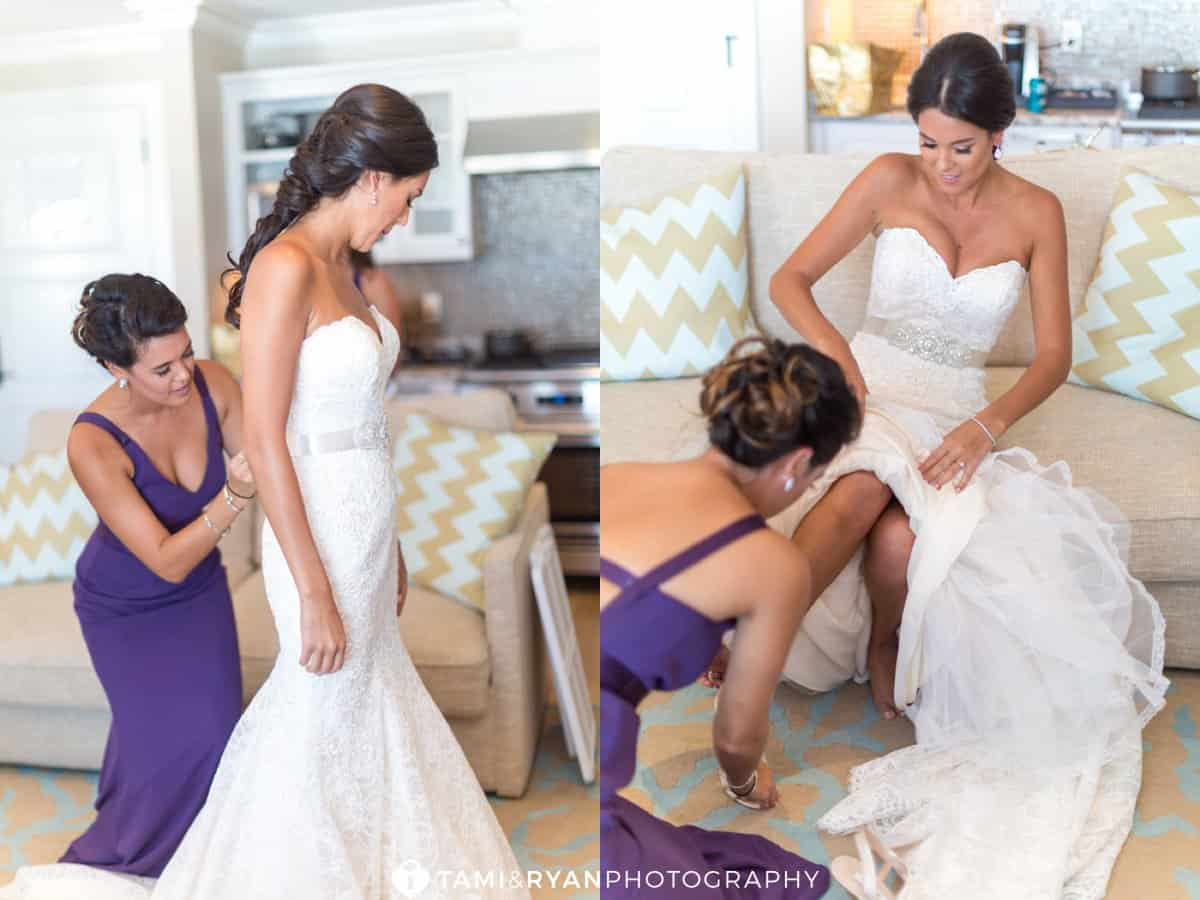 bride getting ready dress