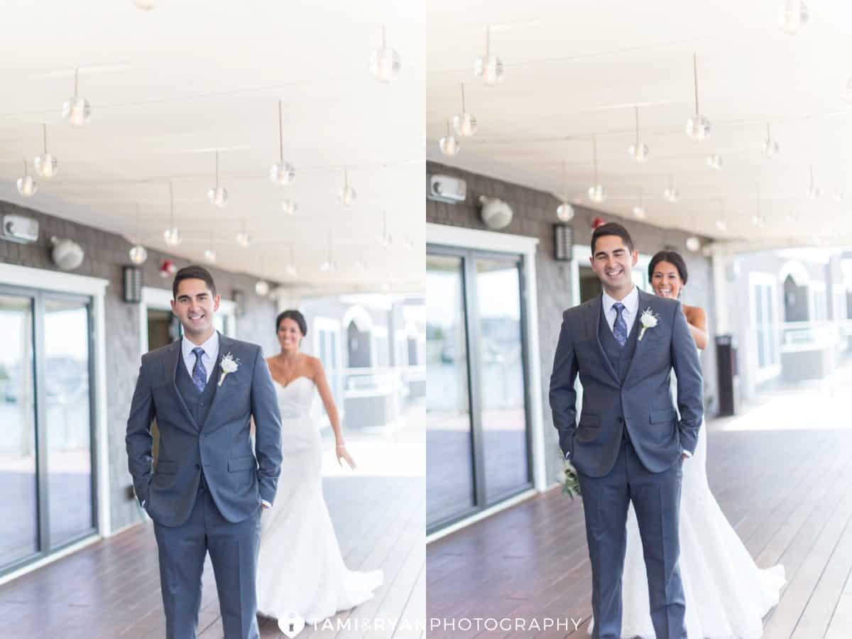 first look bride tap groom