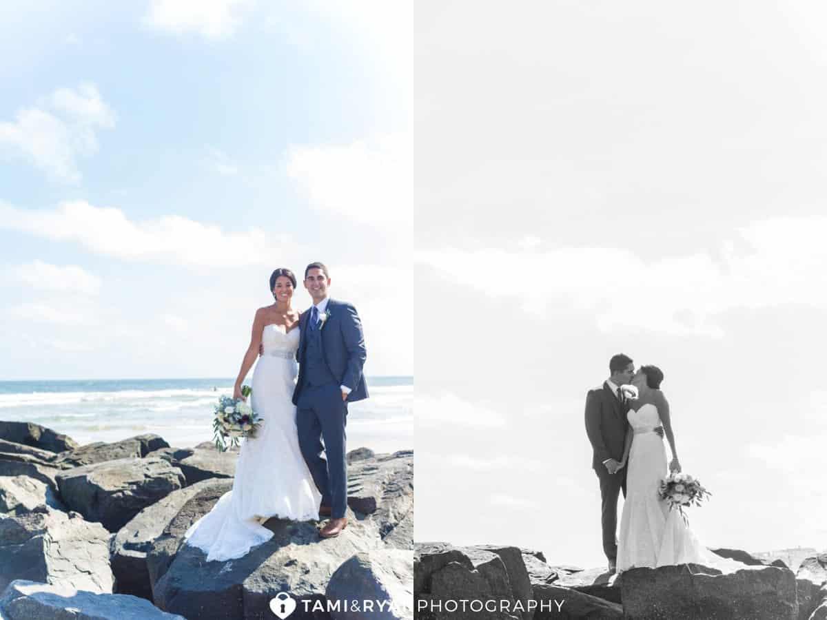 bride groom on rocks ocean