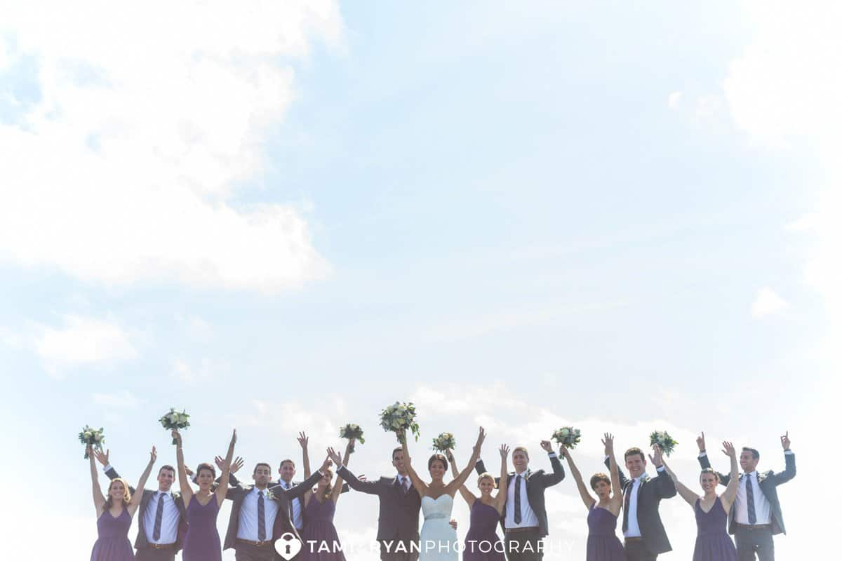 bridal party excited cheering