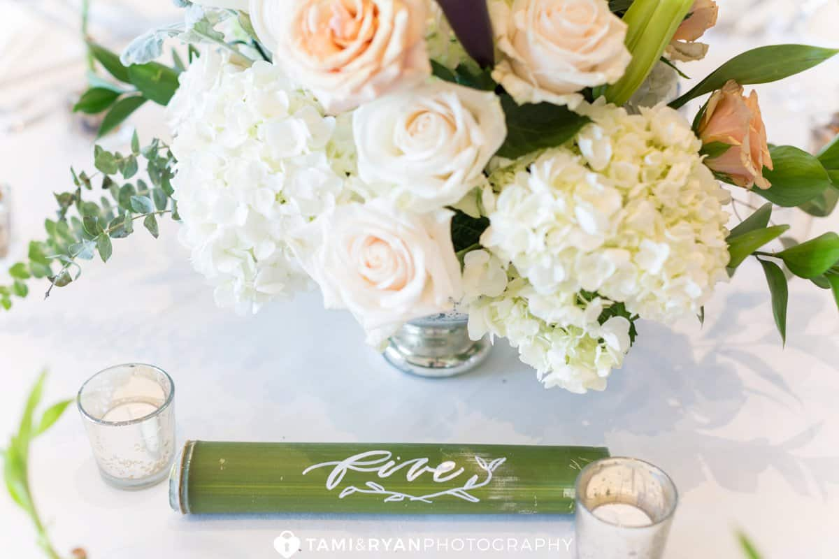 bamboo table number centerpiece