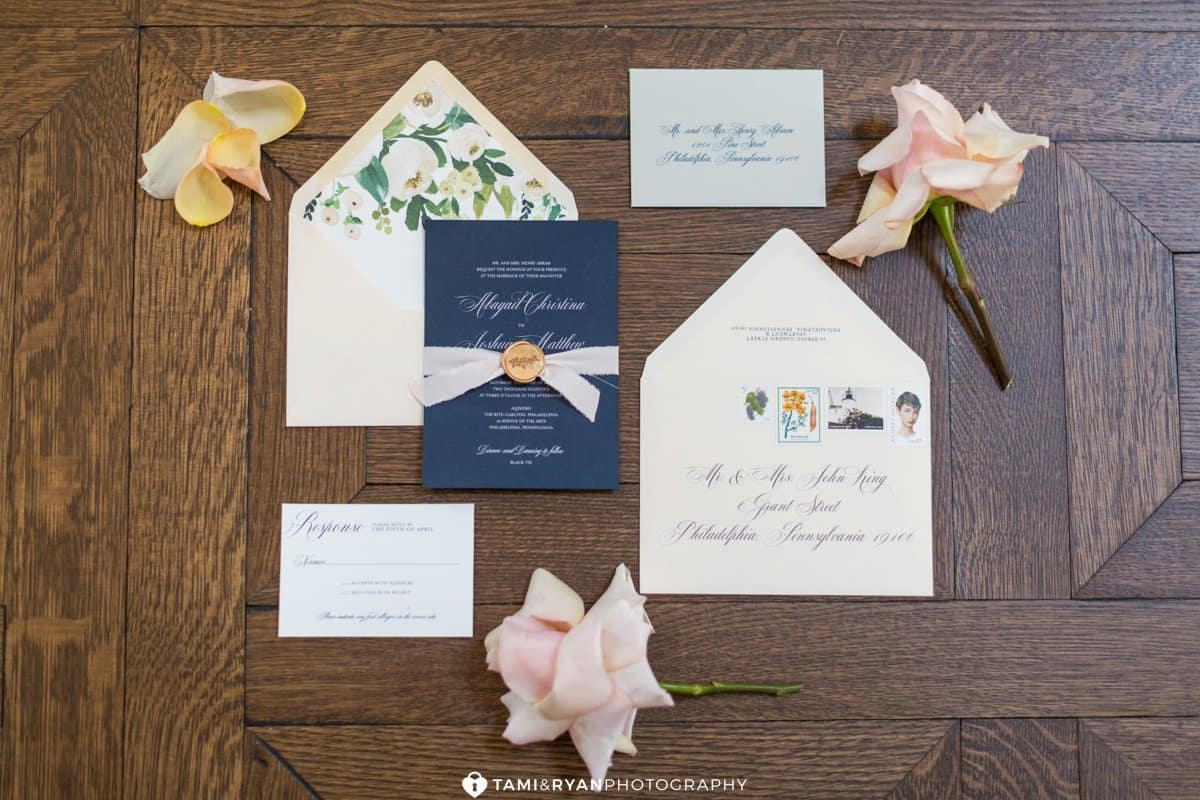aqimero ritz carlton navy blush wedding invitation