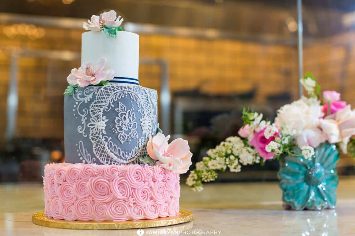 bredenbecks wedding cake blush navy gray