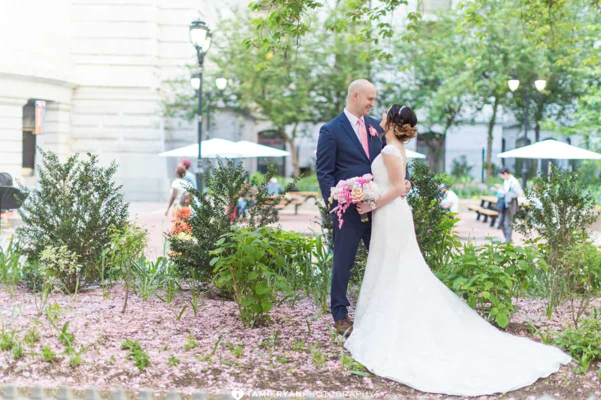 bride groom city hall philadelphia navy blush