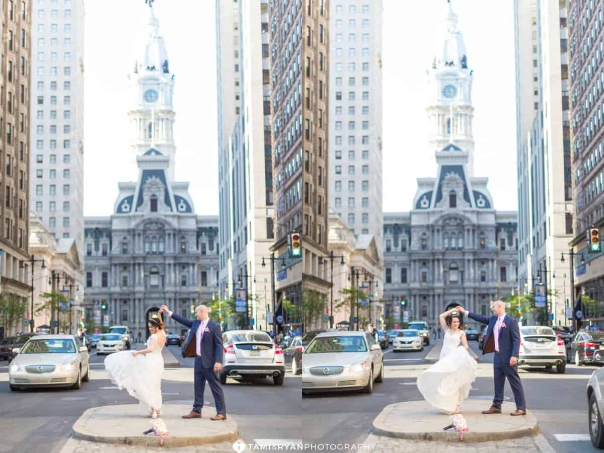 bride groom city hall broad street philadelphia navy blush