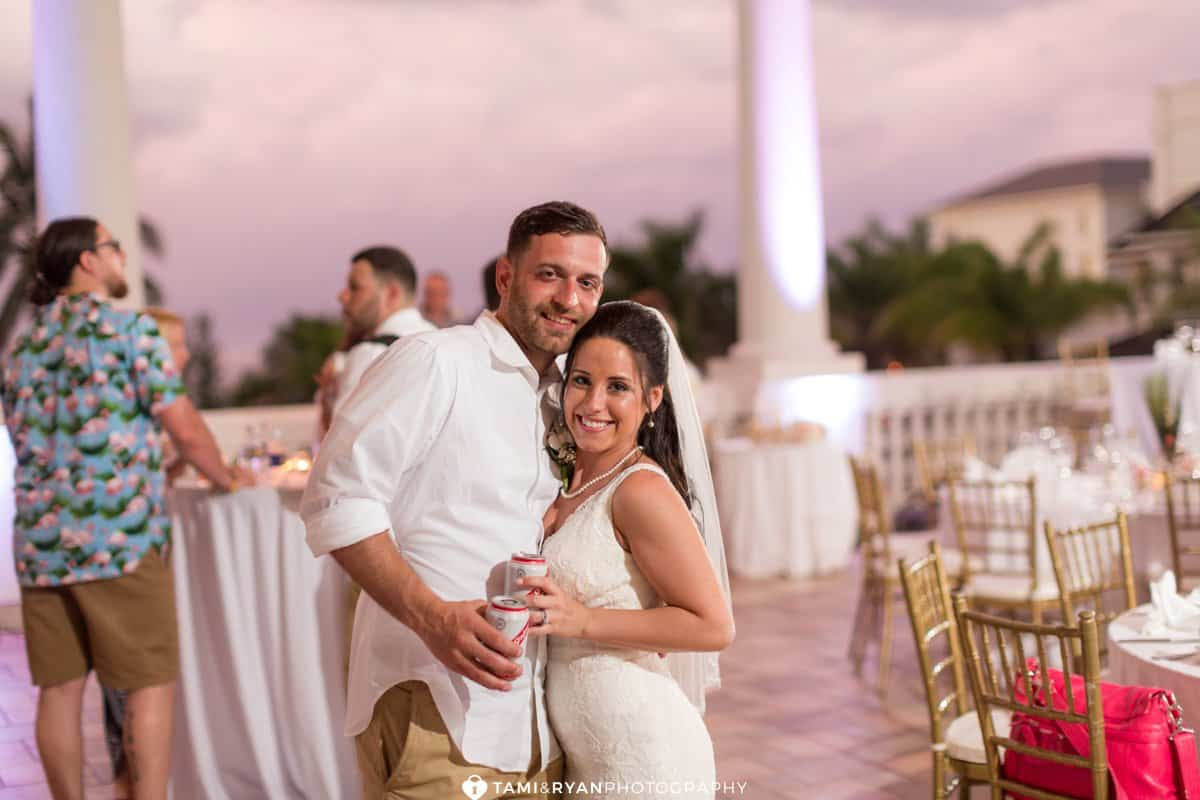 bride groom reception sunset jamaica