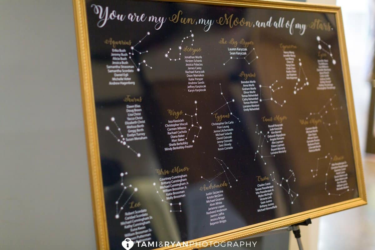 wedding seating chart celestial
