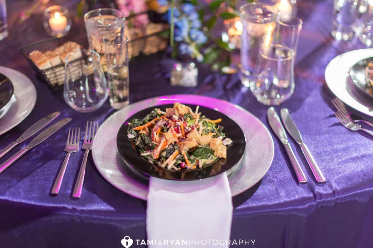 grounds for sculpture wedding reception purple pink