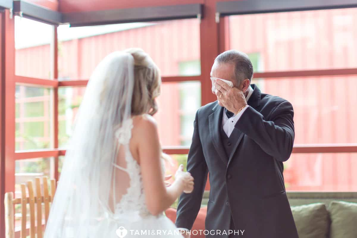 bride dad first look crying