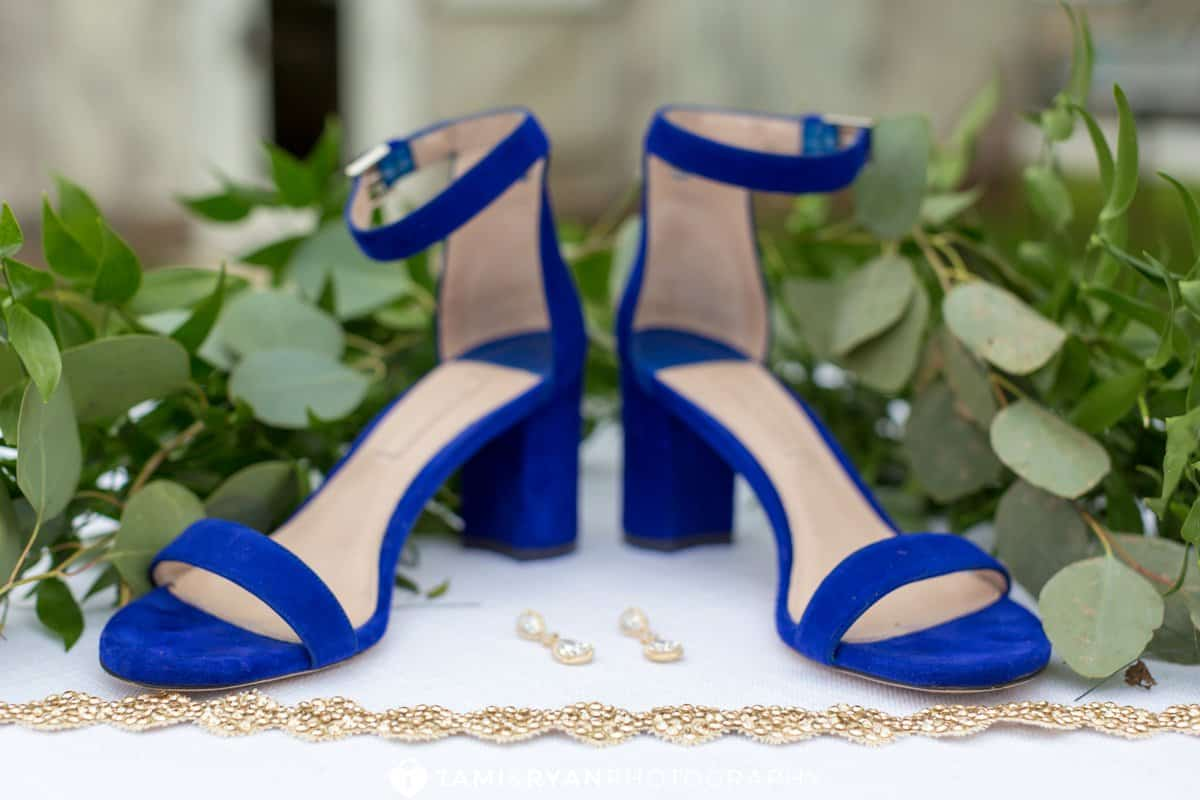 blue bride shoes jewelry