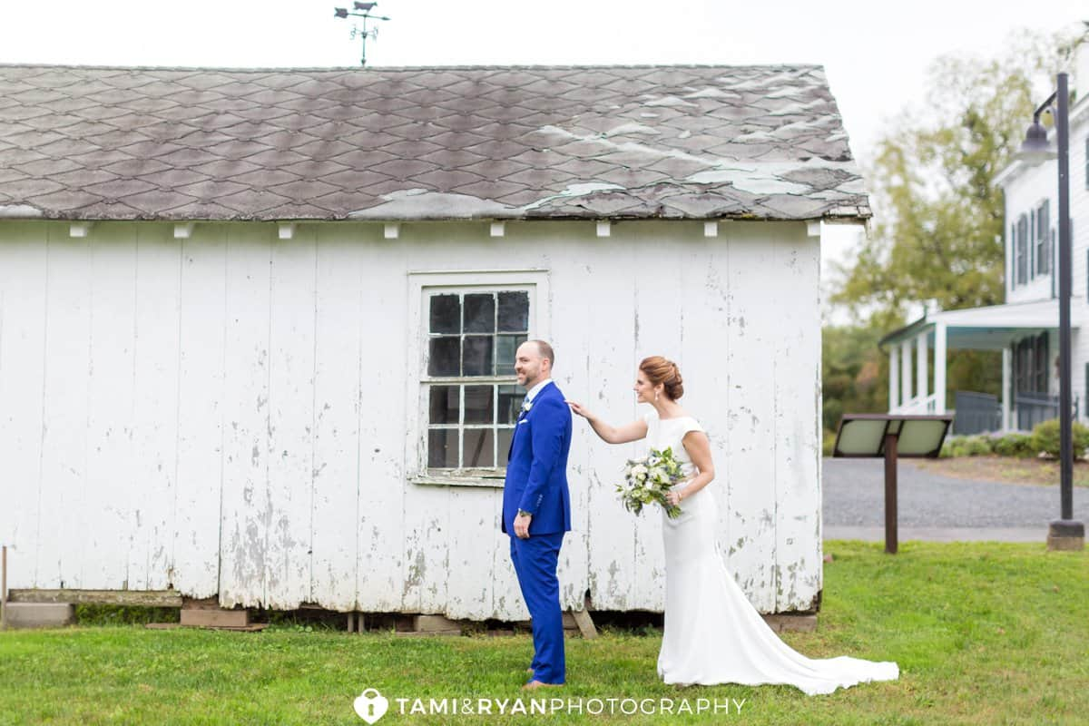 bride groom first look updike farmstead