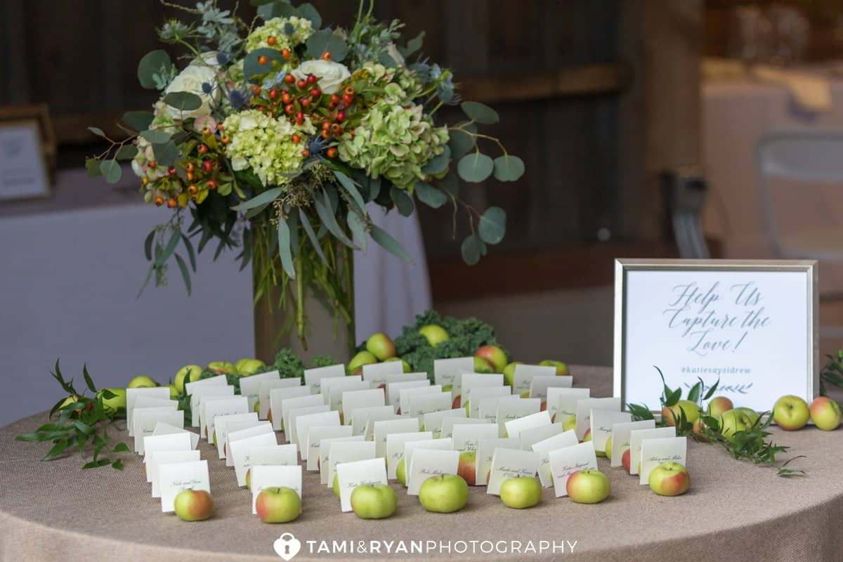 escort cards rustic apples