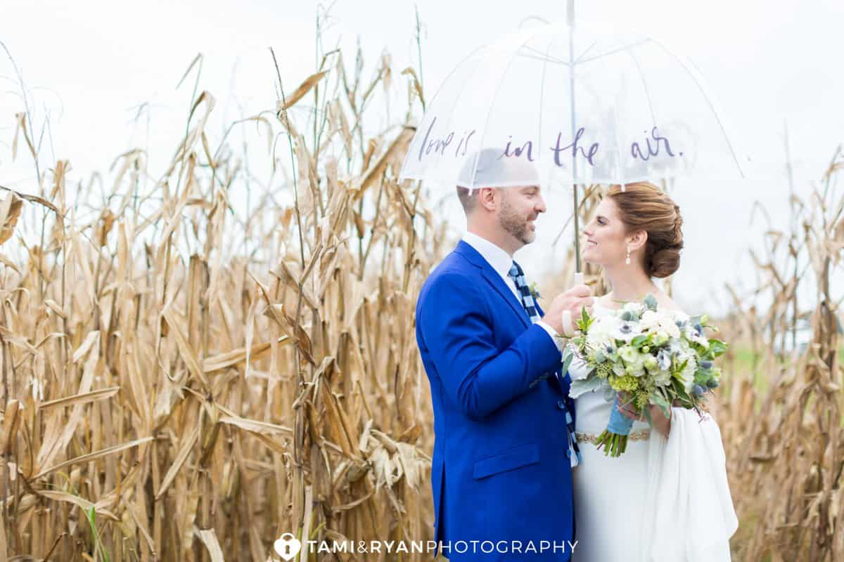 bride groom corn stalks rustic