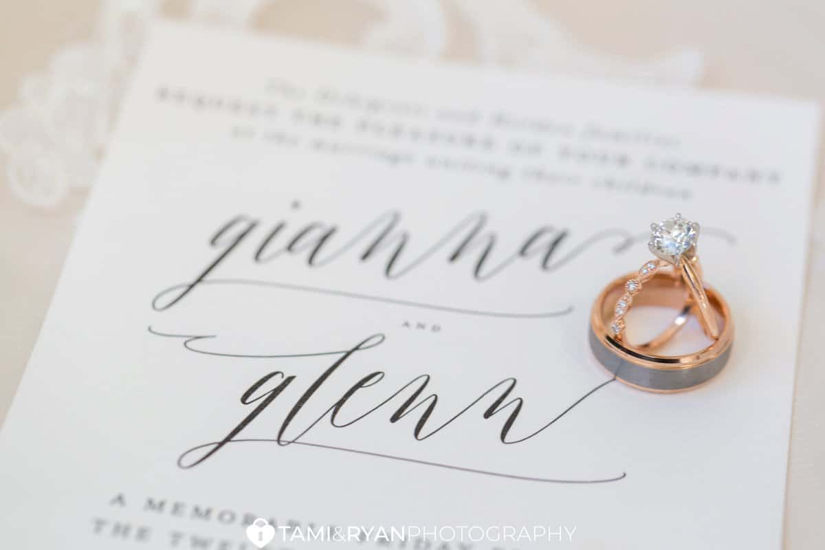 bride groom invitation minted rings