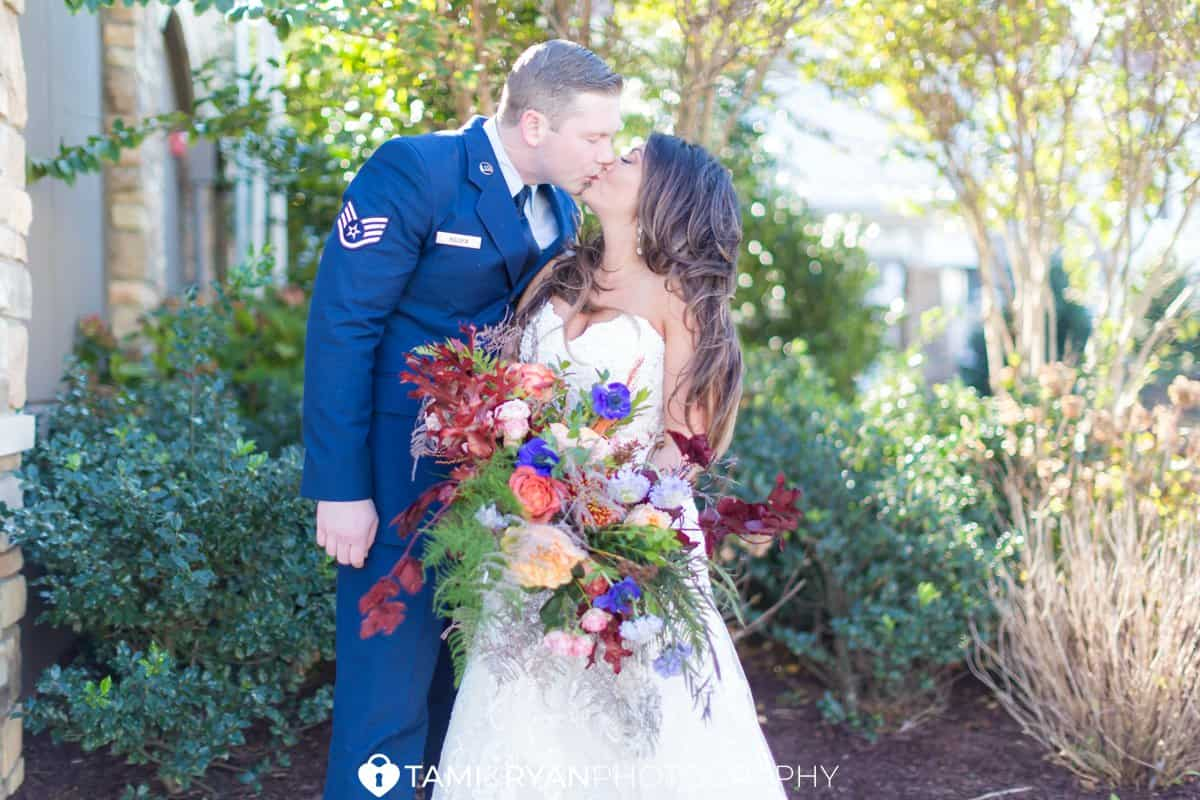 bride groom military portraits fall garden