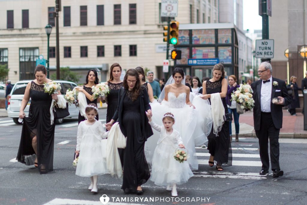 bride walking to church
