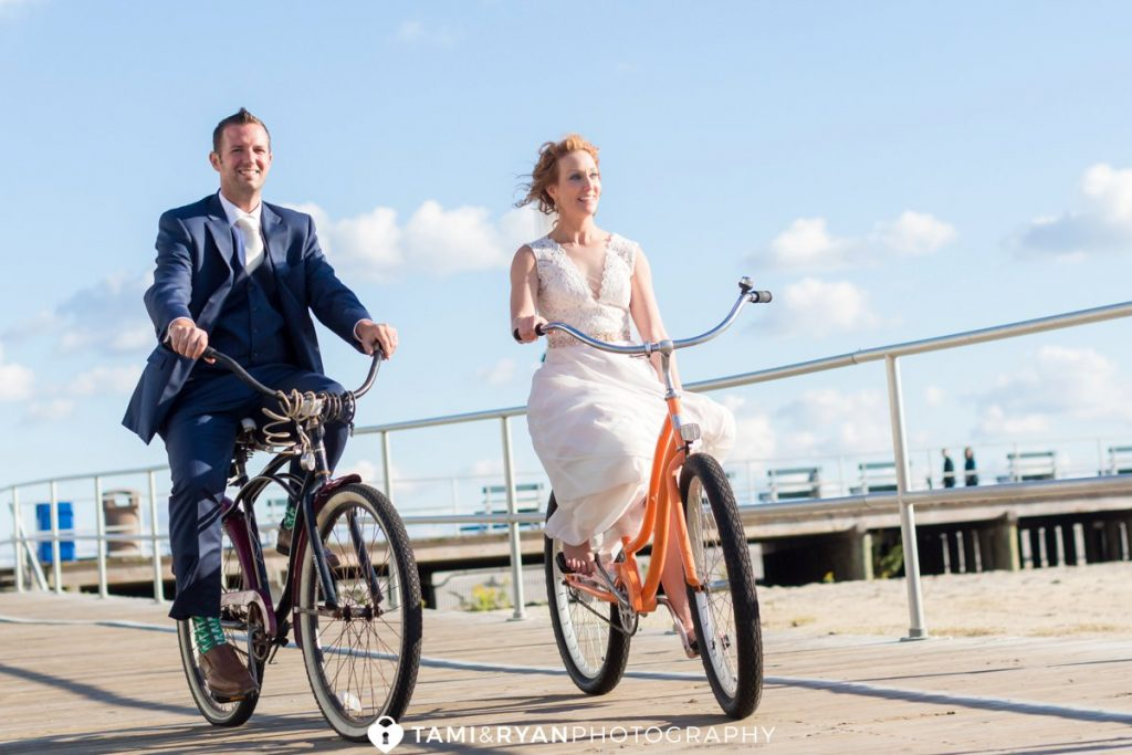 bride groom bicycle wedding ocean city