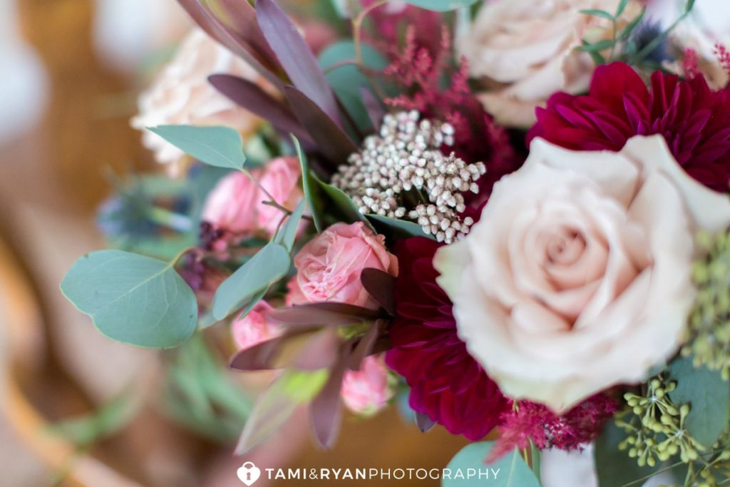 bride burgundy flower details