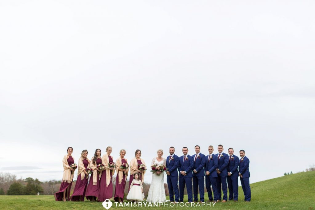 bridal party golf course portraits