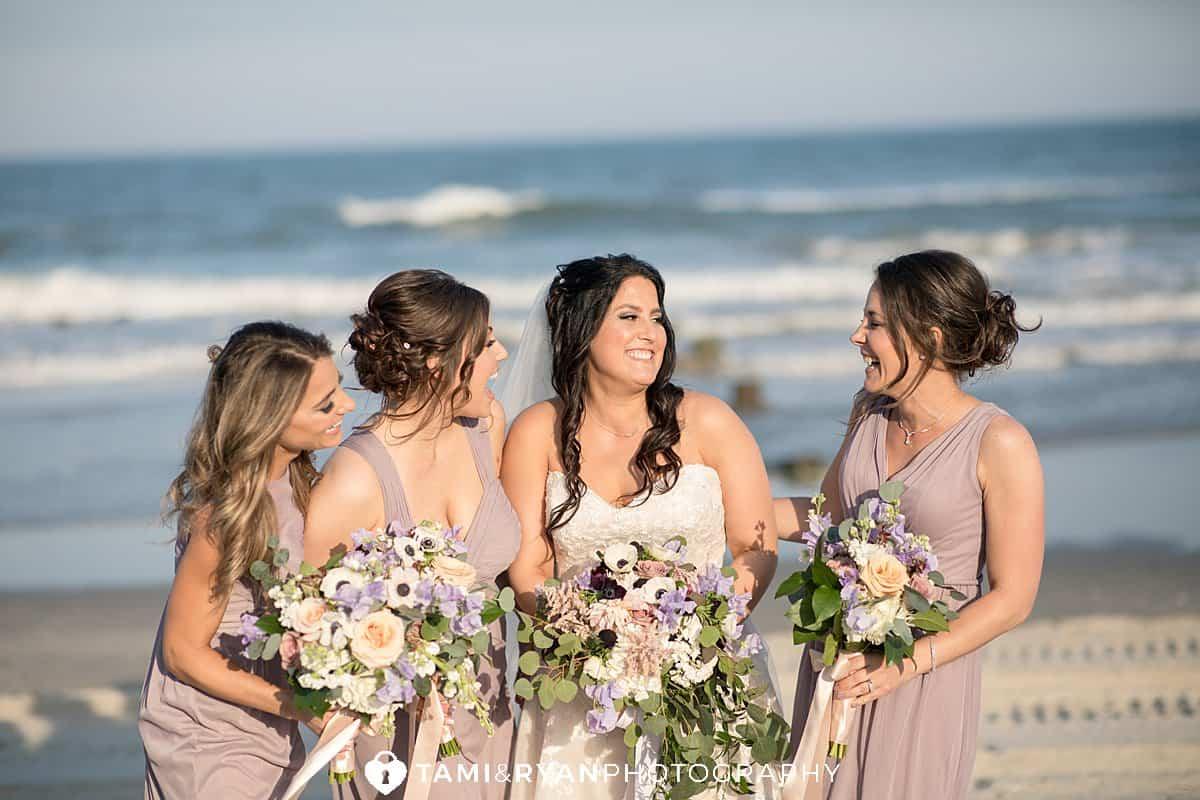 bridal party beach stone harbor portraits