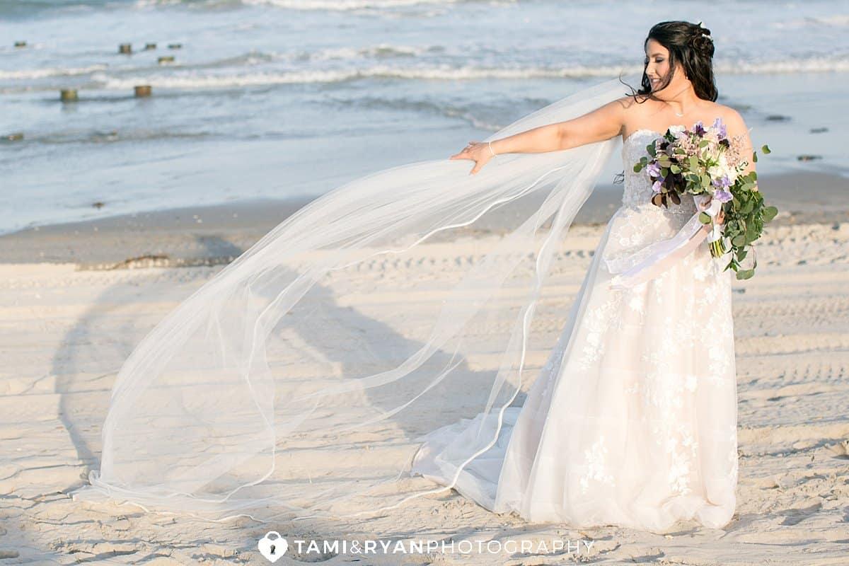 bride portrait beach