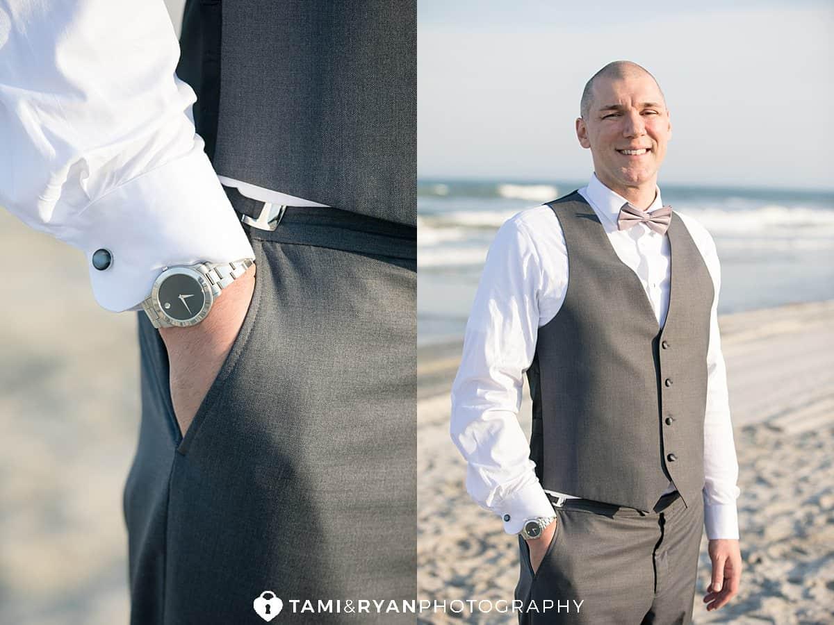 groom portrait beach