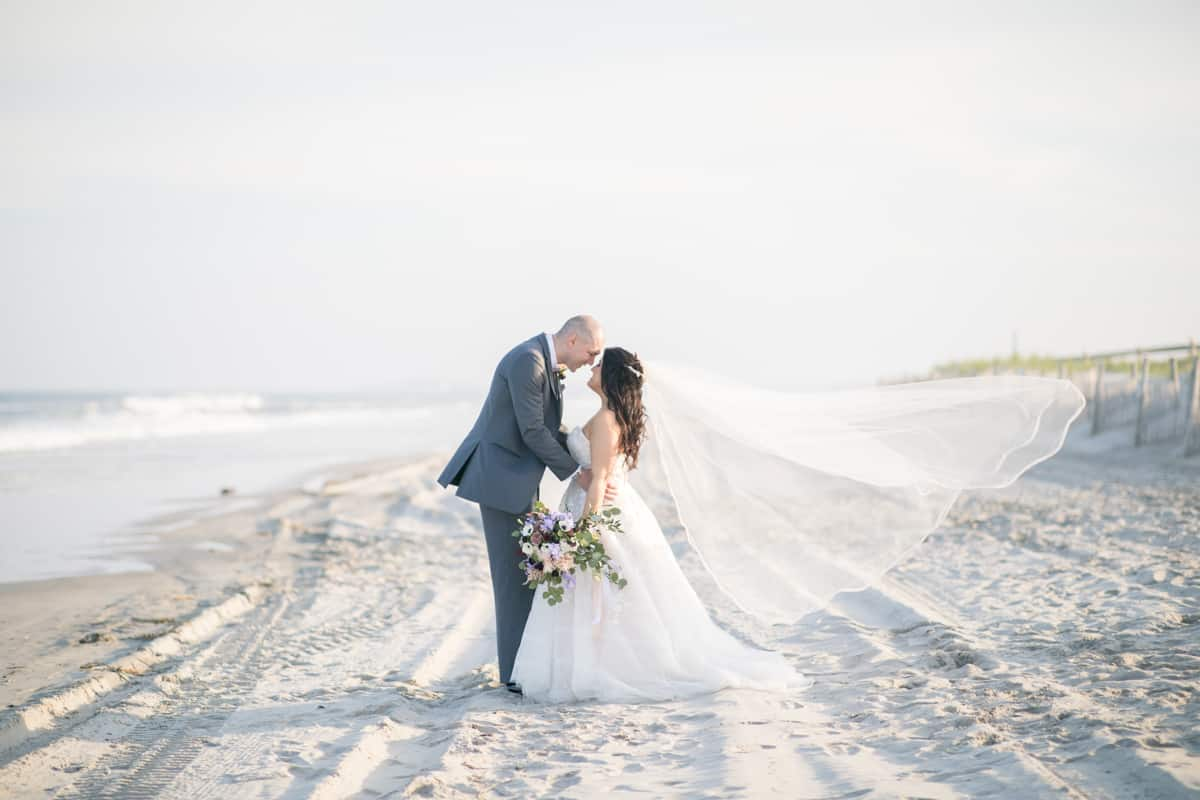 bride groom stone harbor veil shot