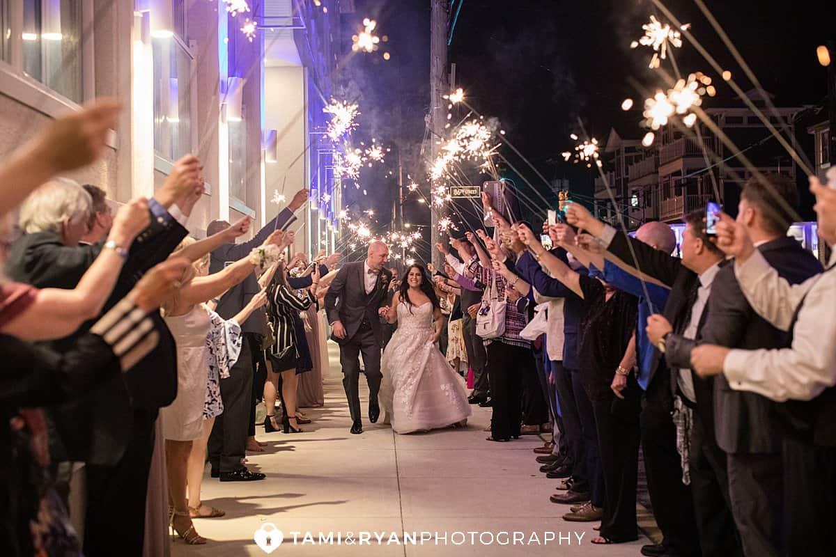 bride groom sparkler exit