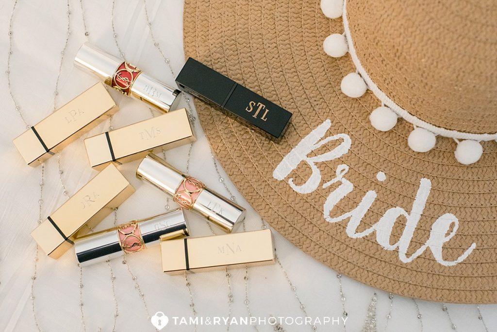 wedding details monogrammed lipstick