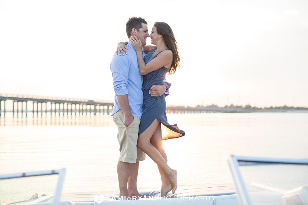corsons inlet boat engagement photography