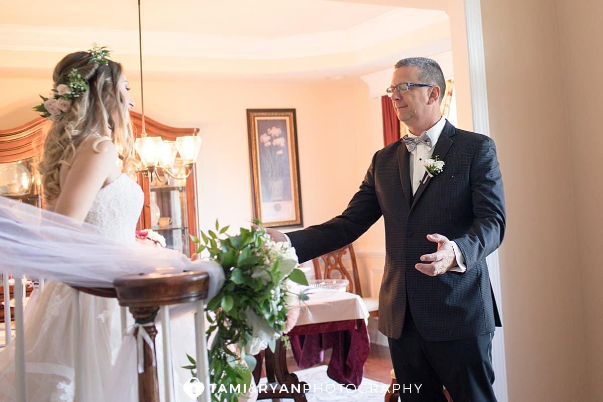 bride first look dad