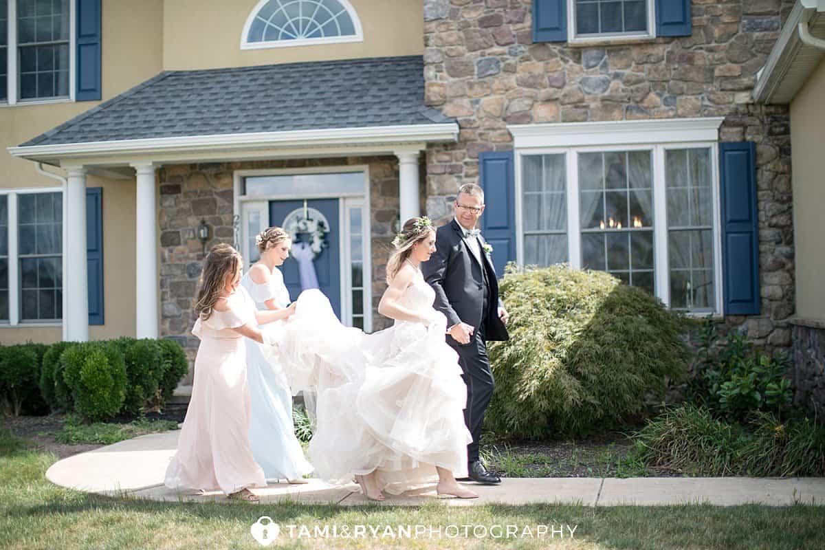 bride leaving for wedding