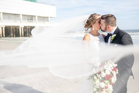 beach veil bride groom