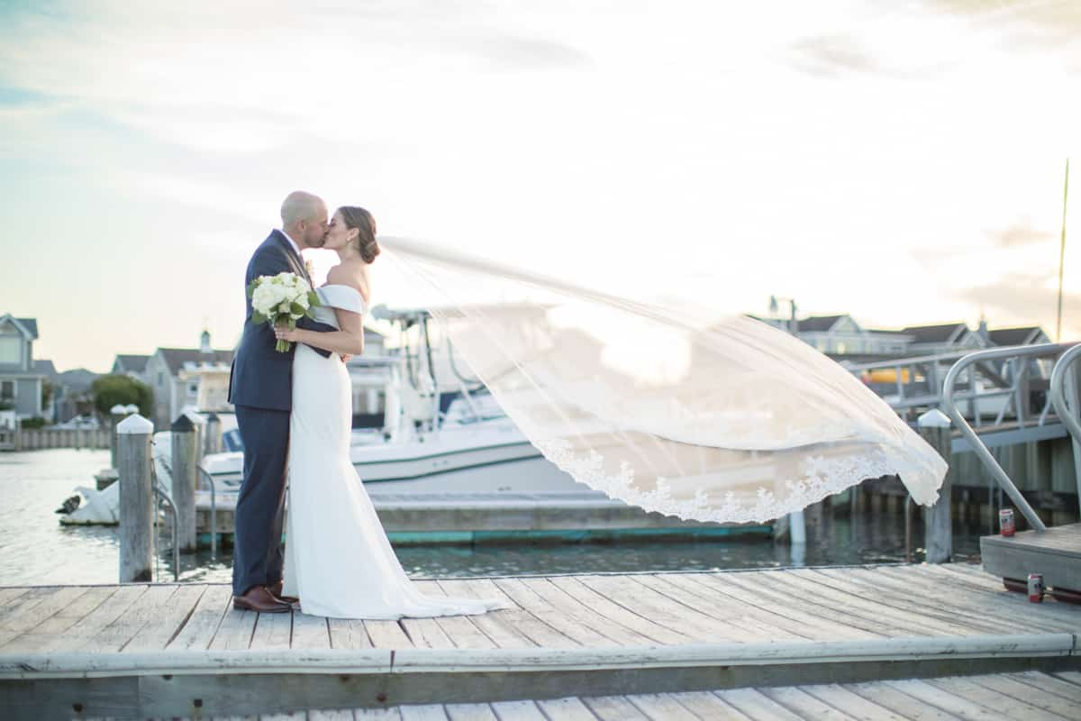 stone harbor wedding bride groom veil