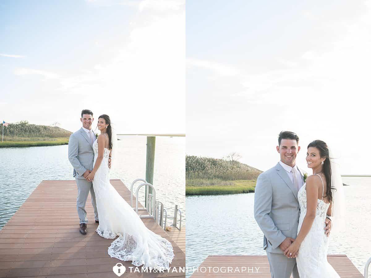 yacht club sea isle city bride groom portraits