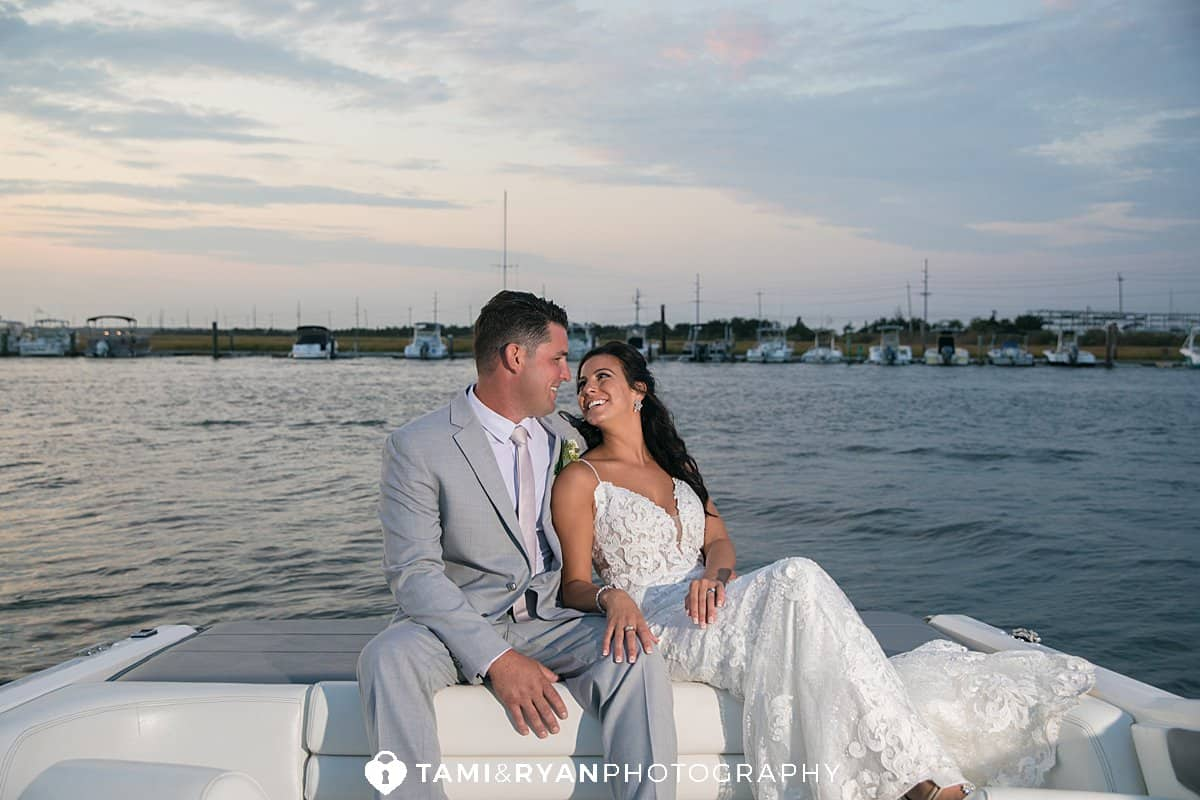 yacht club sea isle city bride groom sunset