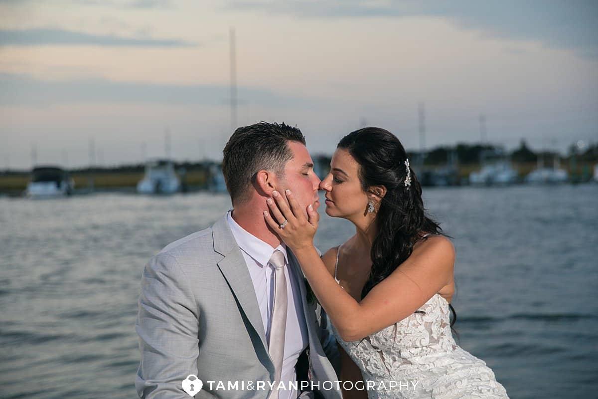 yacht club sea isle city bride groom sunset