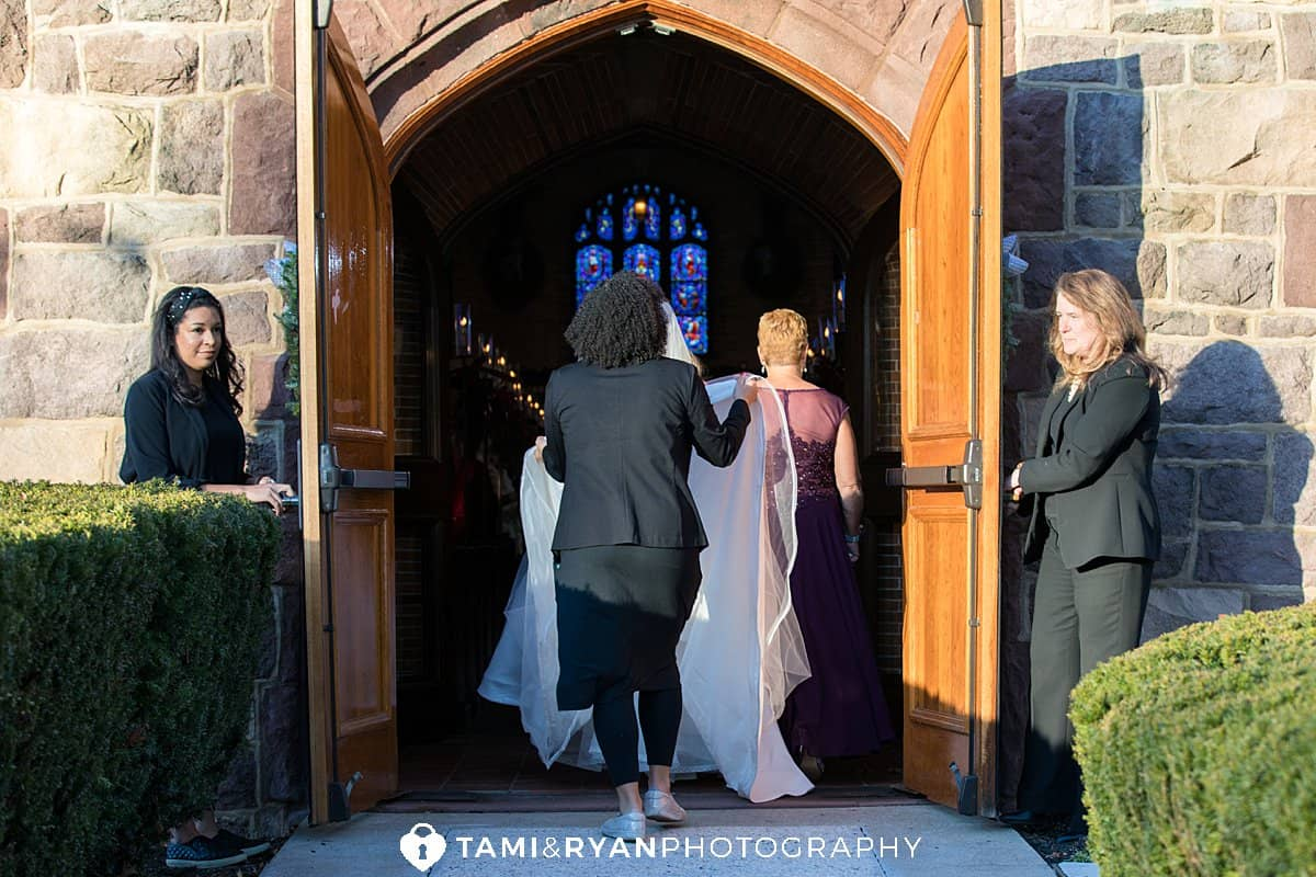 bride walking into church