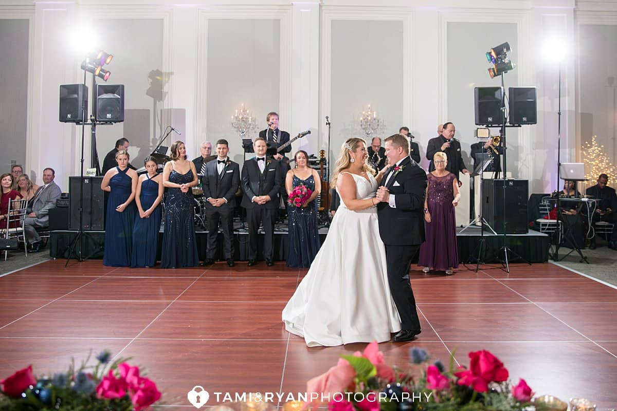 bride groom wedding reception ballroom ellis preserve