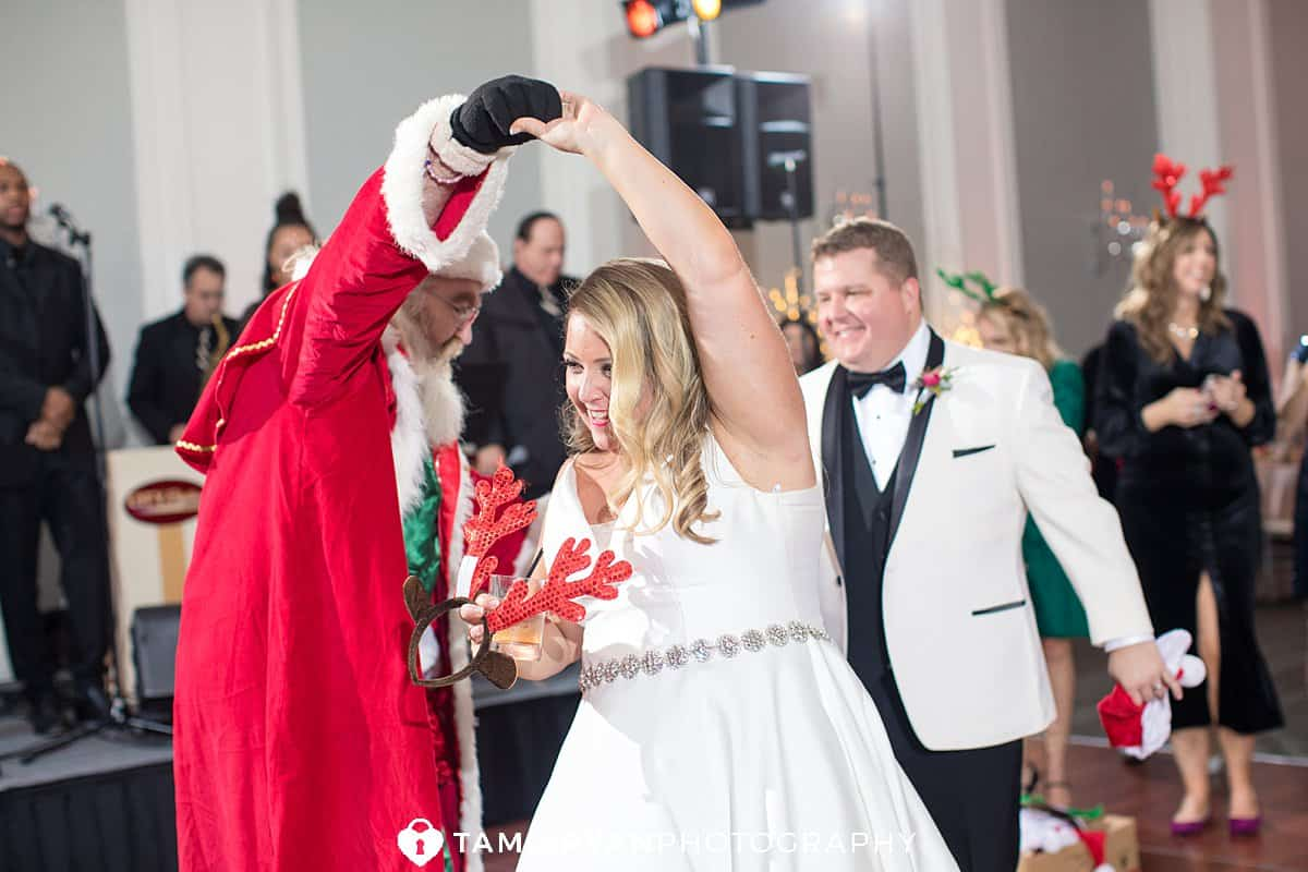 santa bride groom wedding reception ballroom ellis preserve