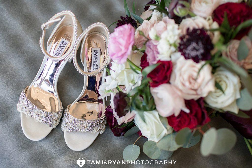 bride shoes and bouquet